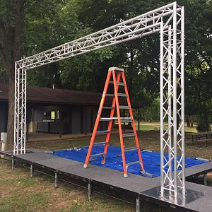 The Float Bash 2016 stage and truss is up, ready to hang everything.